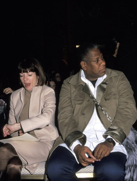 Feb. 2000: Tired of waiting for the Vera Wang show to start.