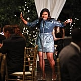 We're excited to see what Mindy Kaling's new show, The Mindy Project, is all about, but in the meantime, the comedienne gave us a taste of her onscreen style. Her sparkly blue cocktail set, along with nude, peep-toe pumps, indicates she has a penchant for eye-catching wares and fun evening ensembles. Photo courtesy of FOX/FX