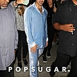 Joe Jonas Wearing a Blue Corduroy Suit at Craig's in West Hollywood