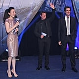 Tom Cruise and Olga Kurylenko attended the Beijing premiere of Oblivion.