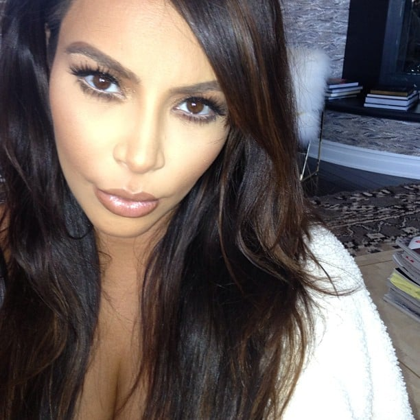 Kim Kardashian posed for a selfie to show off her side-part hair decision. Source: Instagram user kimkardashian
