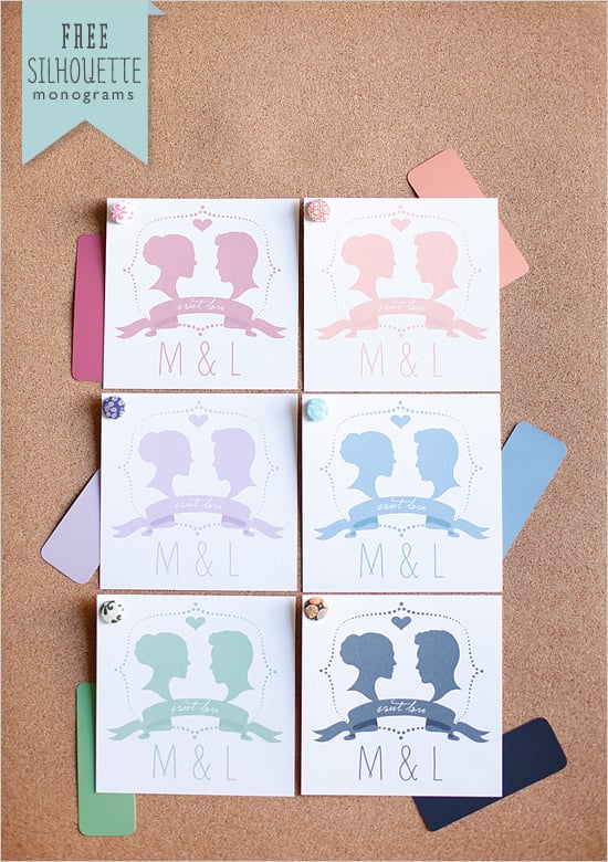 Silhouette Wedding Monogram | Free Printable Wedding Favors ...