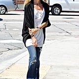 Rachel Zoe zeroed in on her signature style with a pair of distressed flares.