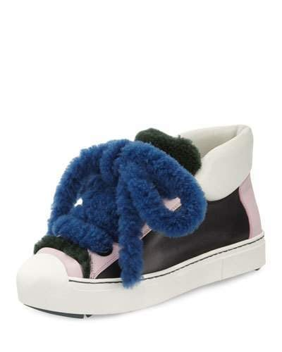 We can't decide if tying the laces on Fendi's Shearling High-Top Sneaker ($1,050) would be easy or hard.