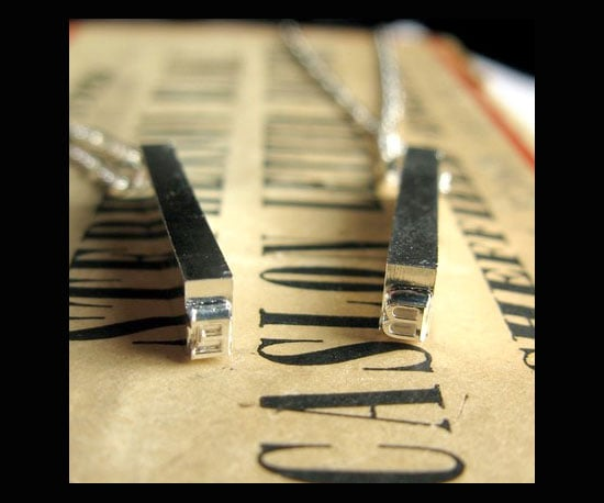 Single Letterpress Necklace — Silver Plate ($50)