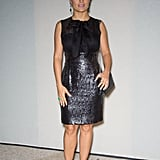 Salma Hayek's shimmery sequined LBD injected a chic dose of girlie glam into her minidress ensemble at Saint Laurent.