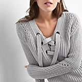 Gap Lace-Up Pullover Sweater