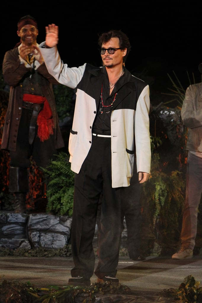 Johnny Depp waved to the Disneyland crowds at the premiere of Pirates of the Caribbean: On Stranger Tides in May 2011.