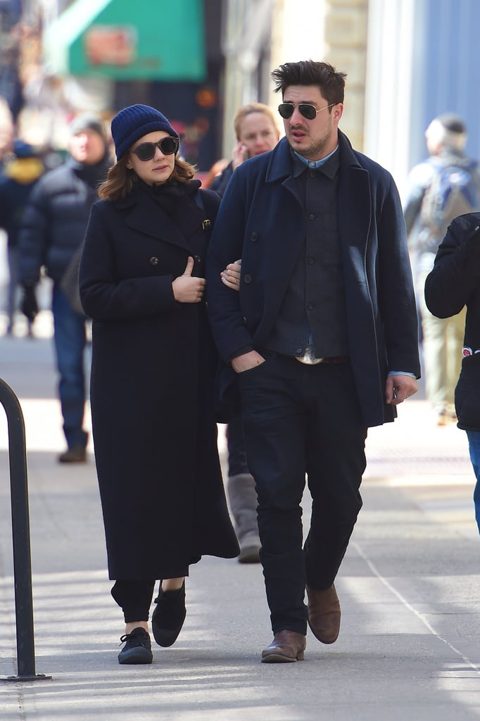 "Carey Mulligan and Marcus Mumford strolled arm in arm through the streets of NYC on Thursday. The duo usually call London home, but they are in the Big Apple as Marcus gears up for the release of his new album with Mumford & Sons. If their first single, ""Believe,"" is any indication, the band is going with a slightly new sound for Wilder Mind, which comes out on May 4. They'll be hitting the road to promote the album at Bonaroo and with their short Gentleman of the Road tour including stops in Scotland, Colorado, and Iowa. Marcus's NYC visit hasn't been all about business though, since he met up with his pal Jake Gyllenhaal earlier this week."