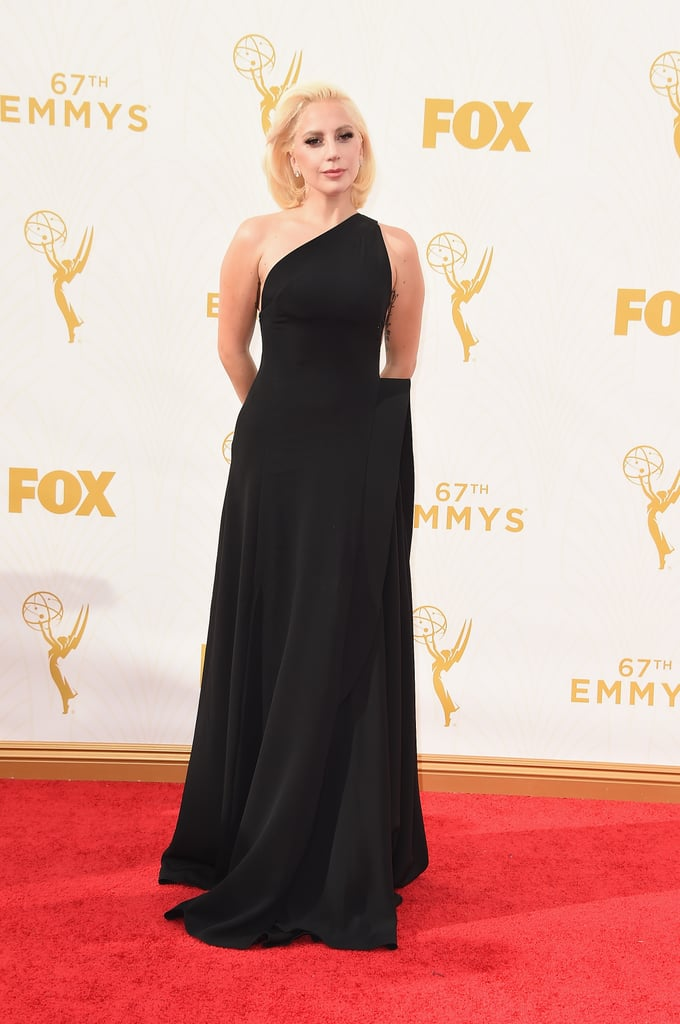 Lady Gaga, is that you? The star showed up in an elegant one-shouldered number.