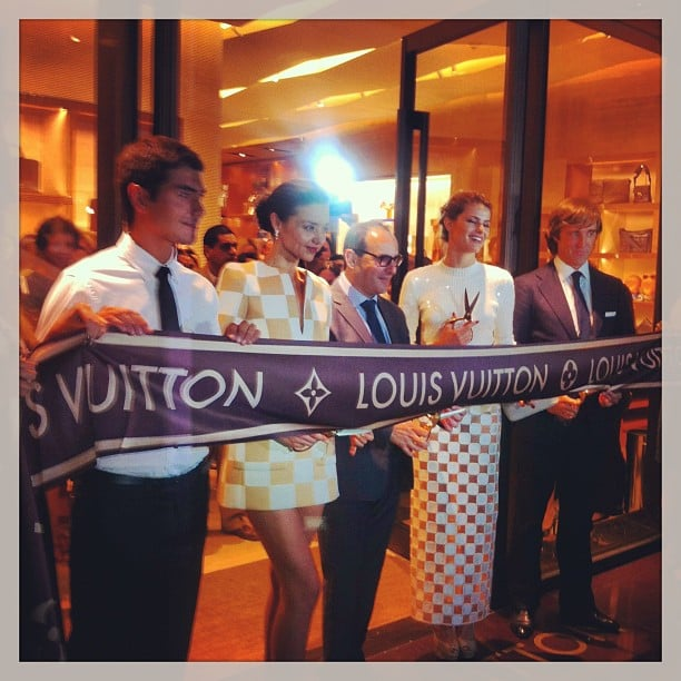 Miranda Kerr helped cut the ribbon at the opening of the Louis Vuitton store in Cancun. Source: Instagram user mirandakerrverified