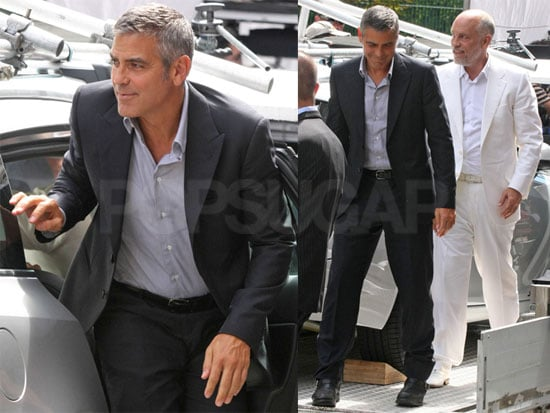 Pictures of George Clooney and John Malkovich Shooting a Nespresso Commercial in Italy