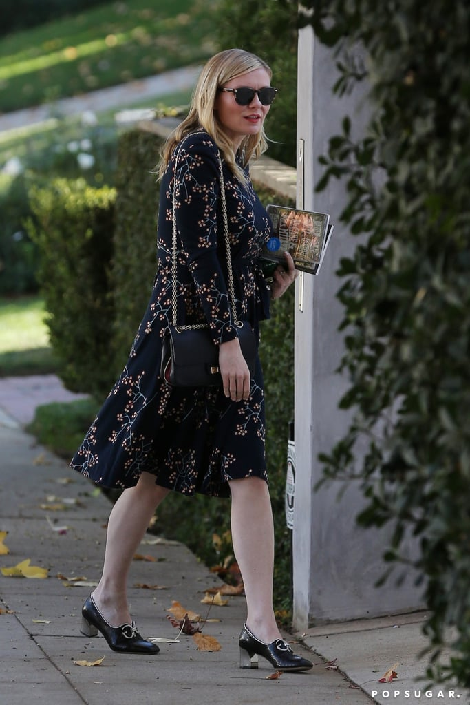 Kirsten Dunst Pregnant Wearing Floral Dress and Gucci ...