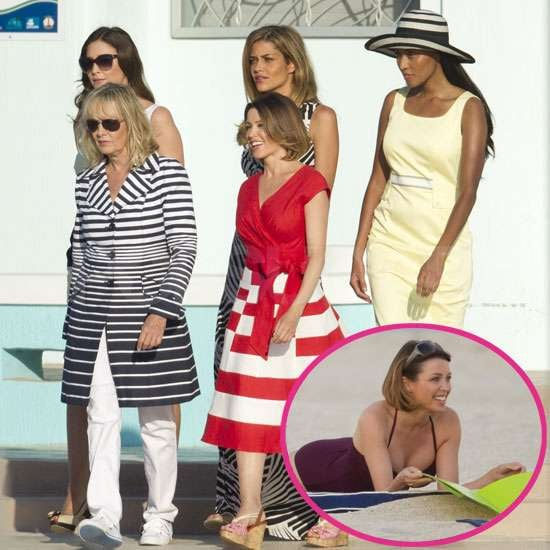 """Dannii Minogue was joined by her fellow Marks and Spencer models Twiggy, Lisa Snowdon, Ana Beatrix Barros, and VV Brown for a fun photoshoot in Miami yesterday. They wore dresses and sunnies, and posed on a yacht, before Dannii stripped down to swimwear for more shots on the beach. The gang have been shooting the store's new ads for the """"Uh-Mayzing"""" Spring/Summer collection. Dannii is enjoying Florida with Kris Smith too, although the icy wind has got Kris """"buying more clothes to keep warm!"""""""