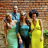 "Source: Tumblr user Beyoncé Knowles   May 17: Beyoncé shared family snaps on her personal blog of herself, Jay Z, Solange, and her mother, Tina Knowles, looking smiley and happy. ""New Orleans, May 17th 2014,"" she wrote in the caption, making it clear the fallout from Solange's physical attack was not coming between them.  May 19: In anticipation of their first-ever joint tour, the couple released a star-studded video for their song ""Part II (On the Run)"" via Beyoncé's blog. The short film features celebrity pals like Sean Penn, Blake Lively, Jake Gyllenhaal, and Rashida Jones and is one part movie trailer, one part music video.  May 24: Beyoncé and Jay Z skipped Kim Kardashian and Kanye West's lavish wedding in Italy, instead taking a family vacation in the Hamptons. They were spotted out on several dates around NYC after the Memorial Day weekend."