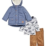 Little Me Chambray Hooded Jacket, Long Sleeve T-Shirt & Corduroy Pants