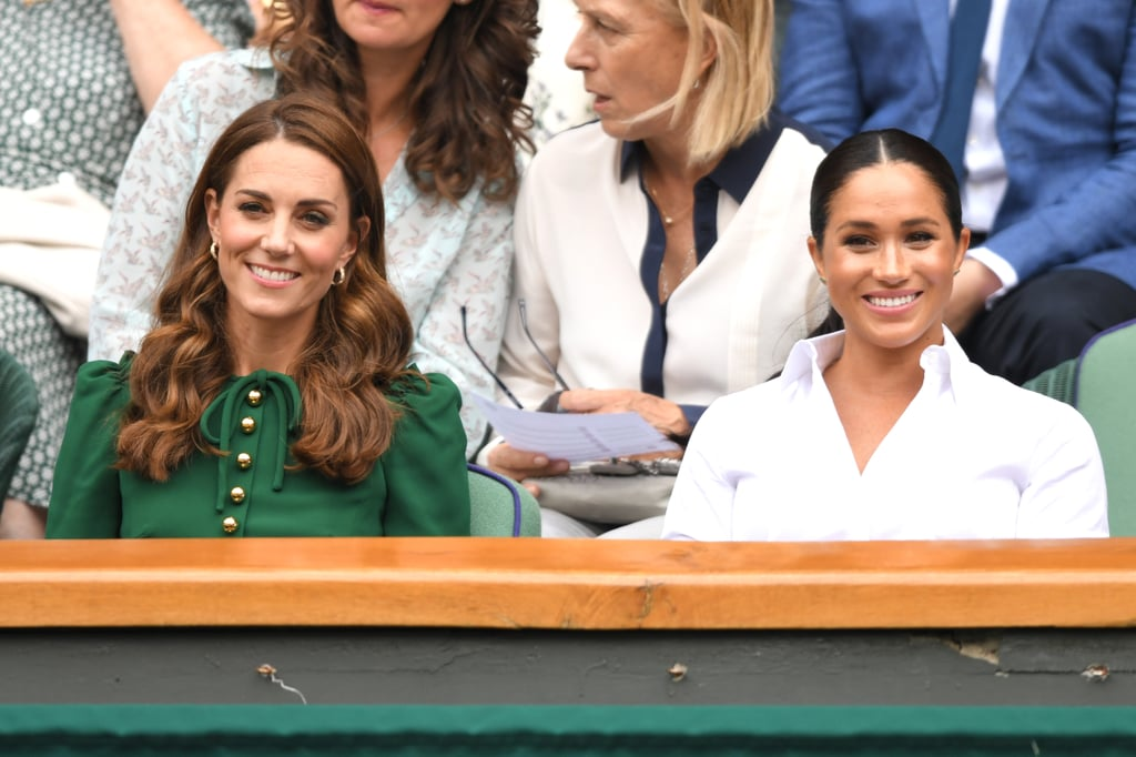 Meghan Markle and Kate Middleton returned to Wimbledon together on Saturday, one year after making their first joint appearance at the tennis tournament. The royal sisters-in-law looked as stylish as ever as Kate stunned in an emerald green dress and taupe pumps and Meghan glowed in a white button-up and pleated skirt. Meghan and Kate were joined by Kate's sister, Pippa, and were on hand to watch pal Serena Williams take on Simona Halep in the Ladies' Singles Final.  Even though this was Meghan and Kate's first joint appearance at Wimbledon this year, both ladies attended the tournament separately earlier this month. On July 2, the Duchess of Cambridge watched Harriet Dart play Christina McHale, and two days later, the Duchess of Sussex brought her friends, Lindsay Roth and Genevieve Hillis, to watch Serena take on Angelique Kerber. Oh, and they recently had an adorable play date with their kids at Prince William and Prince Harry's charity polo match. Yep, Meghan and Kate are clearly enjoying their Summer!       Related:                                                                                                           Everyone Else Can Go Home Now, Because 2019 Belongs to Prince Harry and Meghan Markle