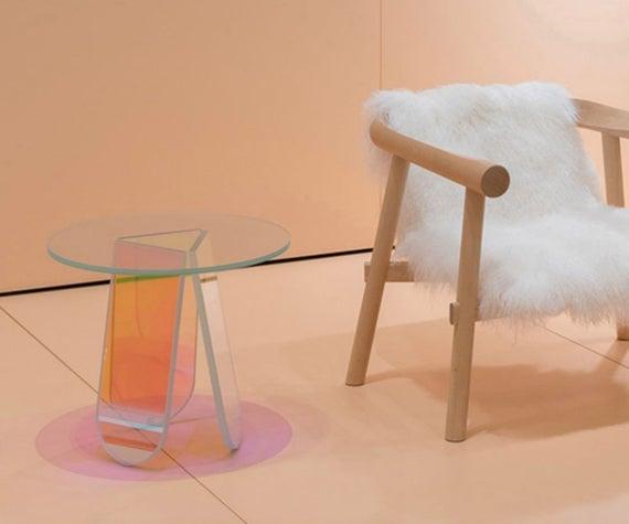 Iridescent Acrylic Side Table