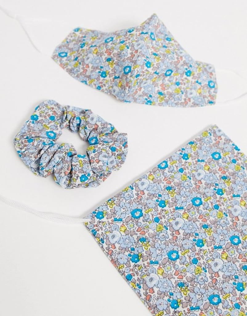 ASOS DESIGN Blue Floral Face Covering With Pouch & Scrunchie