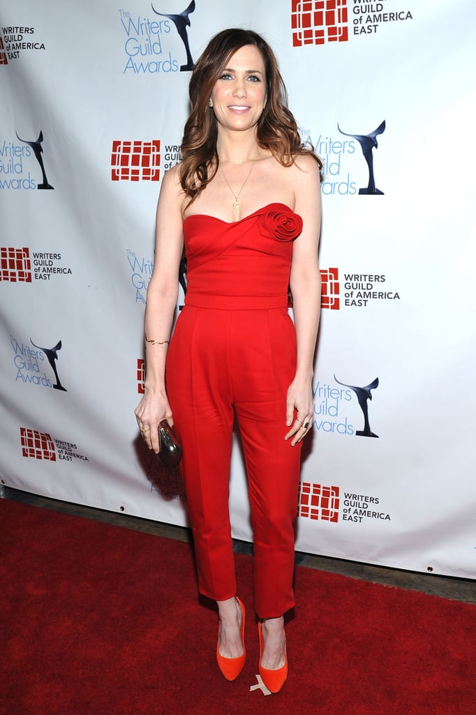 Kristen loves a cute jumpsuit look — this time the former SNL leading lady rocked a red Valentino iteration for the 2012 Writers Guild Awards.