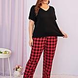Shein Plus V Neck Buffalo Plaid Pajama Set