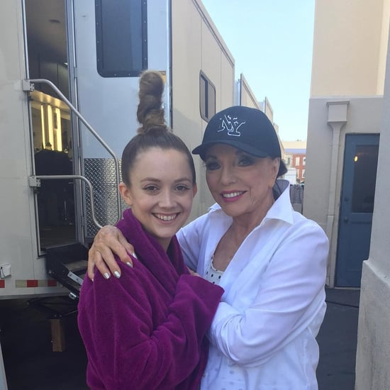 Joan Collins and Billie Lourd on American Horror Story Set