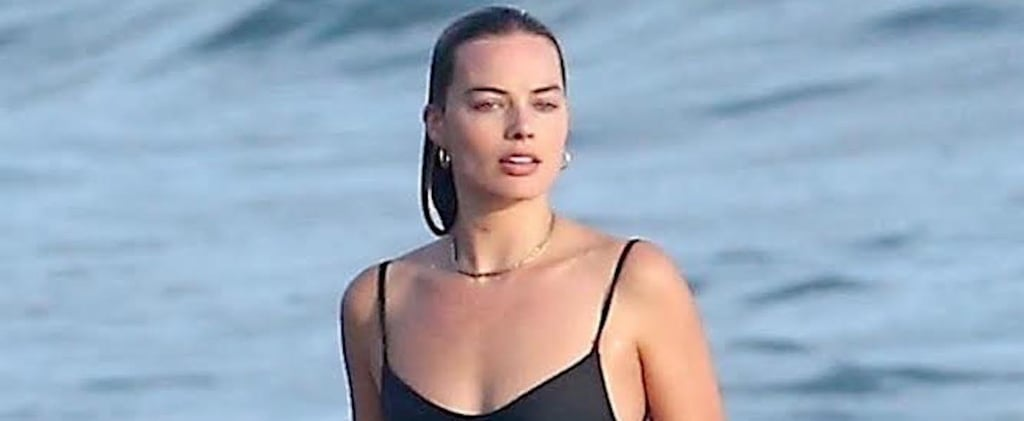 Margot Robbie Black One Piece Swimsuit in Costa Rica 2018