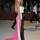 Brazilian model Natalia Borges chose a colorblocked strapless gown for the opening ceremony dinner.