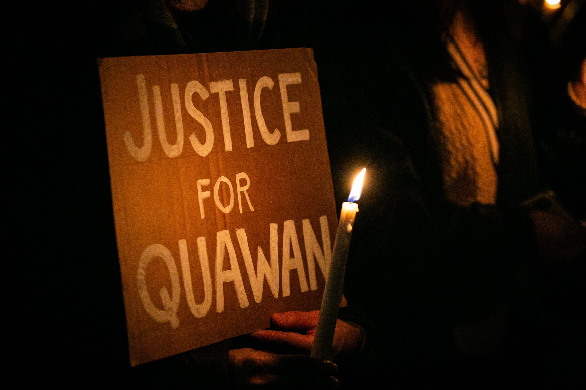 Demonstrators held a vigil at Foley Square in New York City to call for justice for Quawan Charles on November 13, 2020. This comes after the 15-year-old boy went missing in Baldwin, Louisiana and was subsequently found dead in a field, mutilated with cuts and burns on his body. The local sheriff's department told the boy's family that he had drowned. However, Quawan's family says the case has all the markings of a modern-day lynching. (Photo by Karla Ann Cote/NurPhoto via Getty Images)
