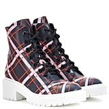 Kenzo Plaid Leather Ankle Boots