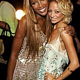 Naomi Campbell crossed paths with Nicole Richie in NYC during a September 2005 Fashion Week event.