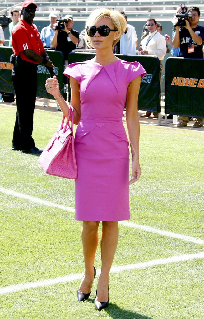 Wearing a hot-pink Roland Mouret dress and matching Birkin ...