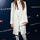 At Tommy Hilfiger's LA store opening, Jessica Alba used a pair of black-and-white satin T-strap pumps to jazz up her all-white suit.