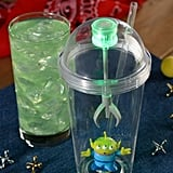 The Alien Sipper tumbler that can be purchased and filled with Mystic Portal Punch (Powerade Mountain Berry Blast with flavors of lemon-lime and tangerine) at Woody's Lunch Box.