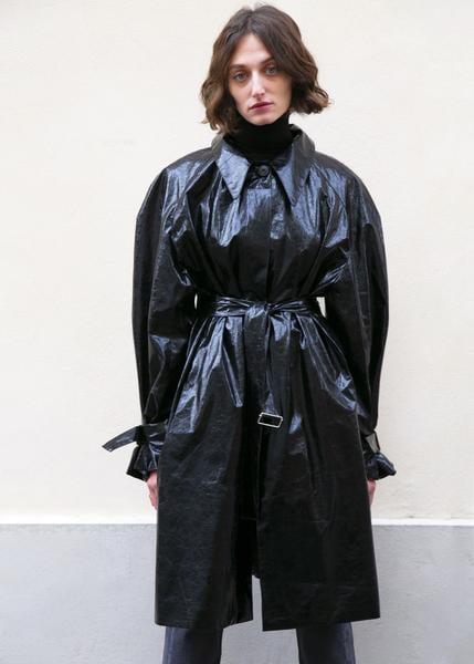 Frankie Crinkled Patent Belted Overcoat in Black