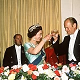 Queen Elizabeth II toasts with U.S. President Gerald Ford in 1976