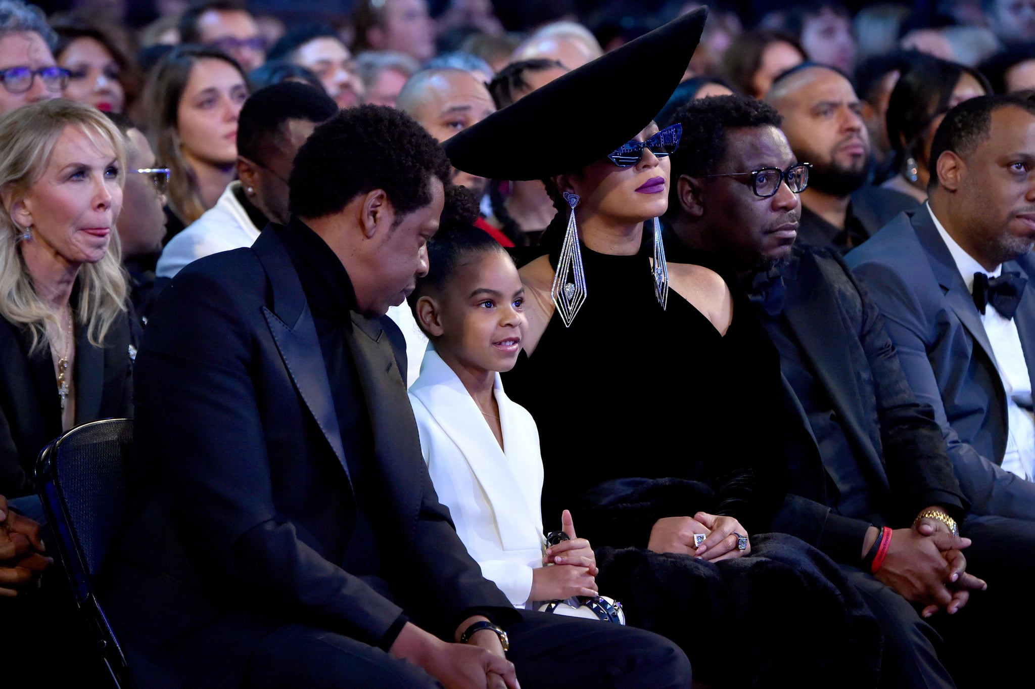 NEW YORK, NY - JANUARY 28:  Recording artist Jay Z, Blue Ivy Carter and recording artist Beyonce attend the 60th Annual GRAMMY Awards at Madison Square Garden on January 28, 2018 in New York City.  (Photo by Lester Cohen/Getty Images for NARAS)