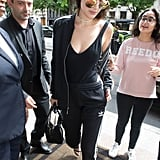 Bella Paired Her Adidas Tracksuit With a Cutout Bodysuit, Heels, and a Choker