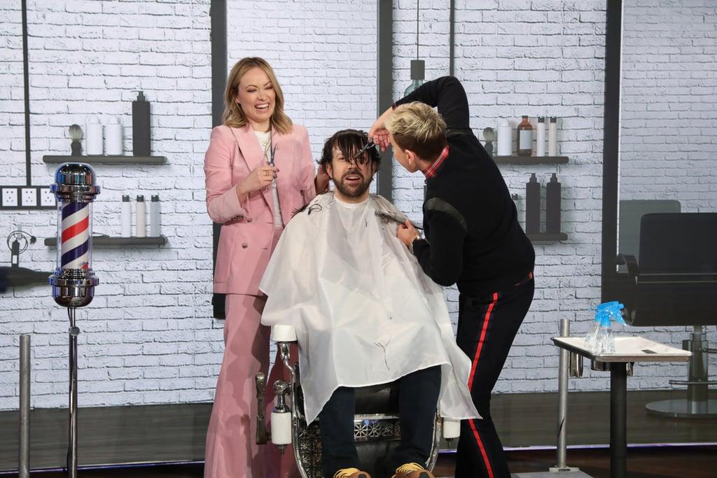 "Olivia Wilde and Ellen Cut Jason Sudeikis's Hair ""Like a Bonsai Tree,"" and . . . Wow"