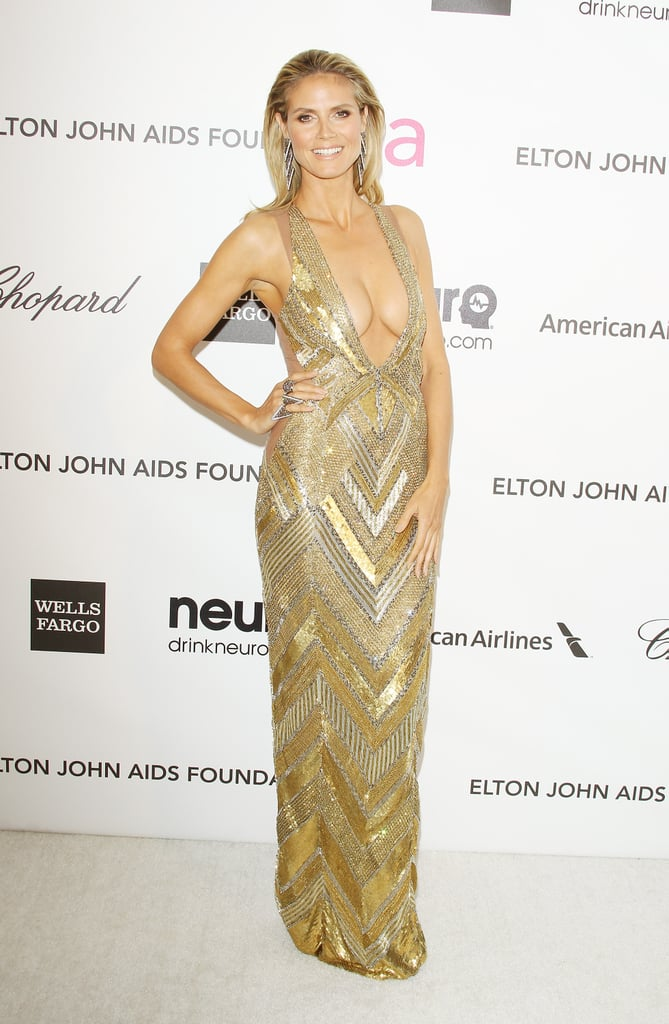 Heidi Klum in a Gold Sequin Julien Macdonald at Elton John's 2013 Oscars Viewing Party