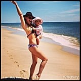 Molly Sims played on the beach with a Rikshaw Design-clad Brooks. Source: Instagram user mollybsims