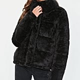 Missguided Black Faux Fur Puffer Jacket