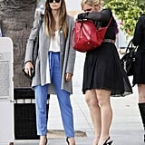 Jessica Biel waited by valet for her car in Santa Monica.