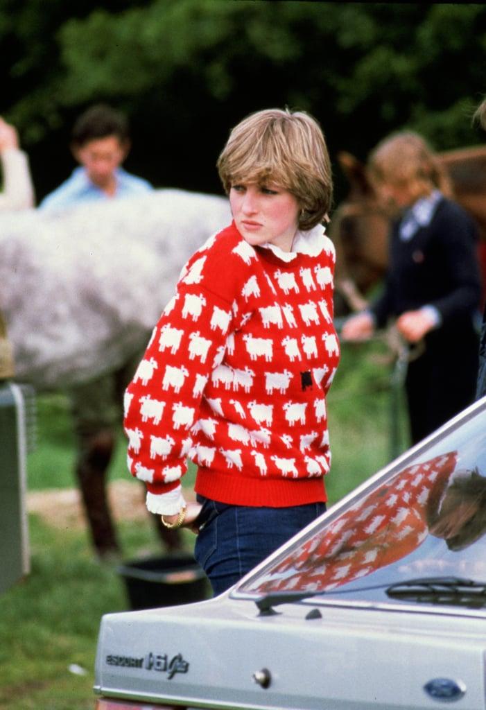 Princess Diana Wearing a Black-Sheep Sweater