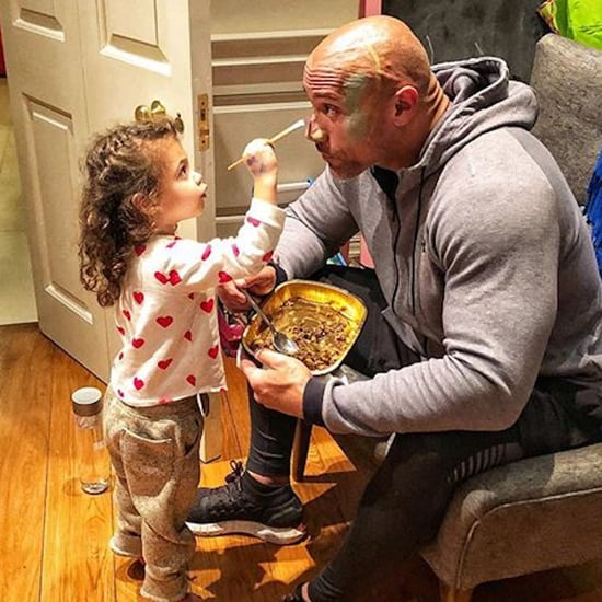 Dwayne Johnson Getting Face Painted by Jasmine Photo 2018