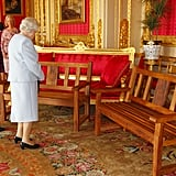 Queen Elizabeth II was presented with two park benches to mark her Diamond Jubilee in the Scarlet Drawing Room during a reception for members of the Royal Engineers Association at Windsor Castle.
