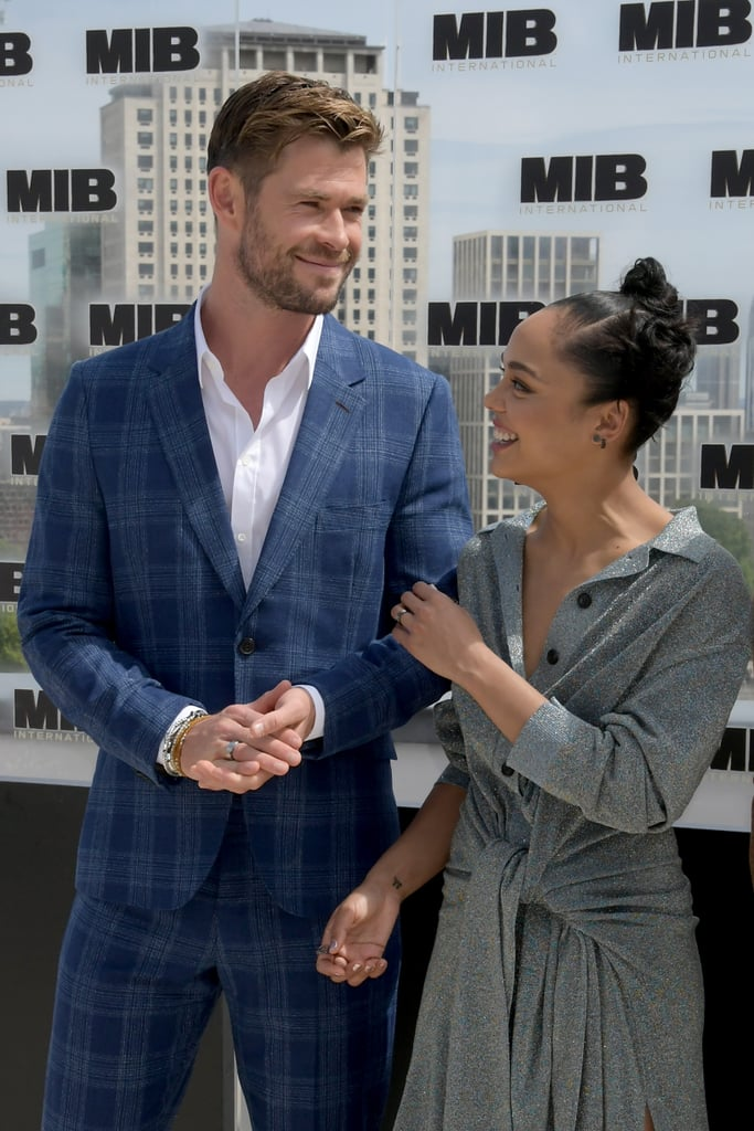 """Chris Hemsworth and Tessa Thompson are back together in Men in Black: International, but their friendship goes beyond the screen. The co-stars have developed quite the special bond since starring together in 2017's Thor: Ragnarok, which is why Chris was excited to work with Tessa again. In fact, Tessa was actually one of the first people Chris thought of to play Agent M in the action spinoff. """"She was at the top of the list and I said, 'Fantastic, we'll pick where we left off,'"""" Chris previously revealed. """"A lot of the time when you work with a co-star you spend sometimes the first half of the shoot getting to know each other and so to not have to do that is always a huge relief."""" Chris and Tessa will be playing Agent H and Agent M, respectively, with Chris as a top agent in MIB's UK branch and Tessa as a new MIB recruit assigned to the branch. Men in Black: International hits theatres on June 14."""