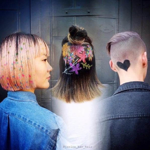 Stencilled Hair Colour Designs