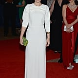 At the 2013 White House Correspondents' Dinner in Washington, D.C., Kate Mara was ladylike as ever in her white Prada gown with an oversized bow at the neckline and a green jewelled clutch.