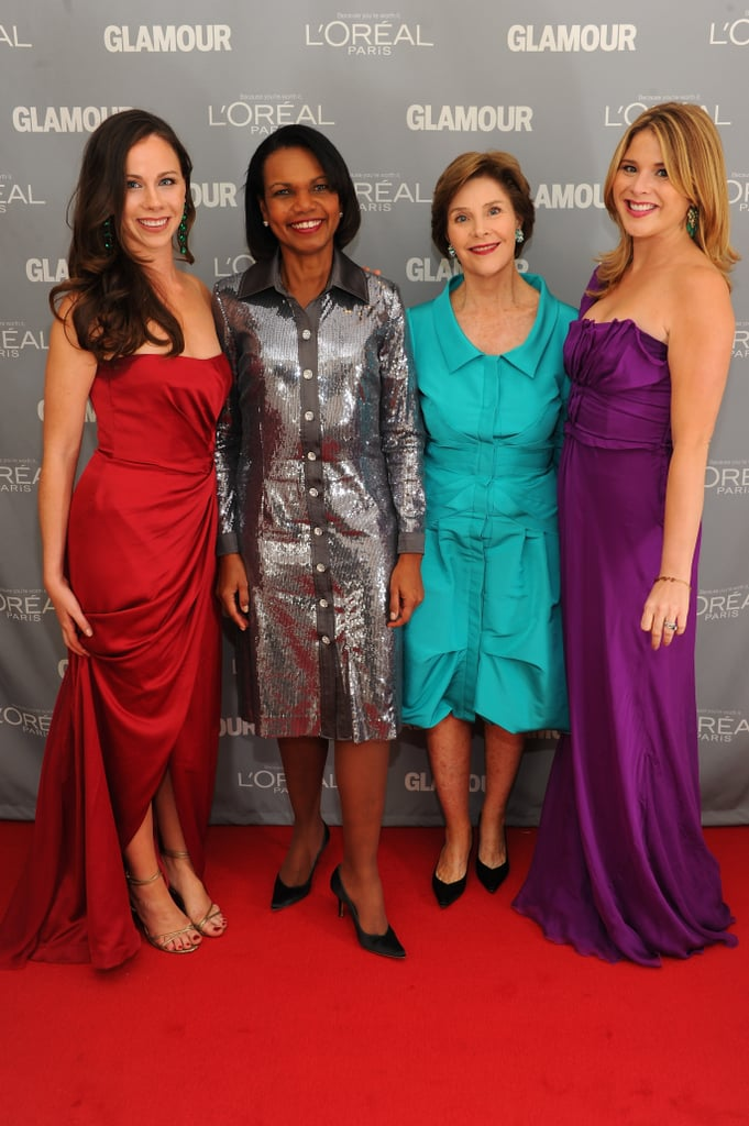 Barbara Bush, Condoleezza Rice, Laura Bush, and Jenna Bush hit the red carpet  together.